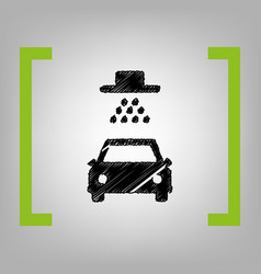 car wash sign black scribble icon in vector image