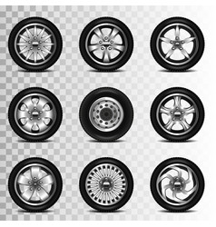 Car wheels icons set vector