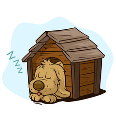 Cartoon cute sleeping dog in wooden kennel vector