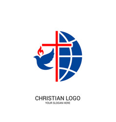 Christian church logo bible symbols vector