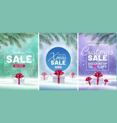 Christmas sale web design set vector
