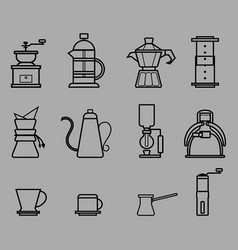 Coffee manual brewers outline vector