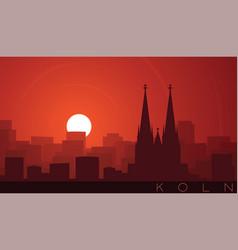 cologne low sun skyline scene vector image