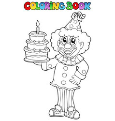Coloring book with happy clown 3 vector