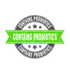 Contains probiotics round stamp with green ribbon vector
