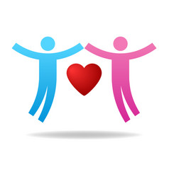 couple icon give love charity concept pair vector image