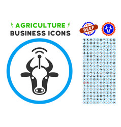 Cow radio transmitter rounded icon with set vector