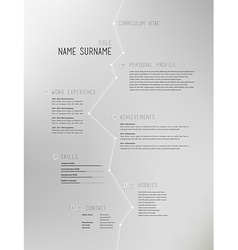 Creative simple curriculum vitae template on grey vector image