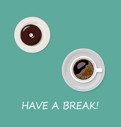 cup of coffee and donut isolated on blue vector image