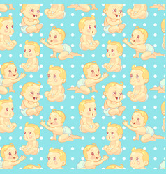 cute cartoon baby seamless pattern vector image