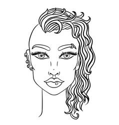 doodle girl with shaved head womens portrait for vector image