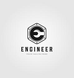 engineer letter e logo wrench symbol design vector image