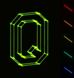EPS10 glowing wireframe letter Q - easy to change vector