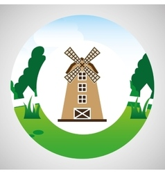 farm countryside windmill design vector image