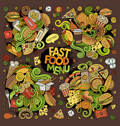 Fast food hand drawn doodles design vector