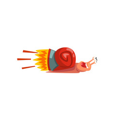 Fast snail cute cartoon mollusk character with vector
