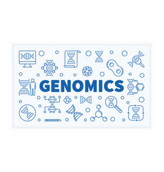 Genomics horizontal outline science banner vector