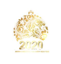 golden christmas sphere vector image