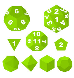 green polyhedron dice with numbers and empty vector image