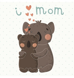 Greeting Card for Mothers Day with cute koalas vector