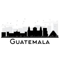 Guatemala city skyline black and white silhouette vector