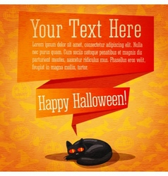 Happy halloween cute retro banner or greeting card vector image