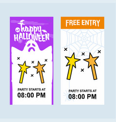 happy halloween invitation design with magic stick vector image