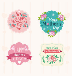 Happy mothers day emblems vector