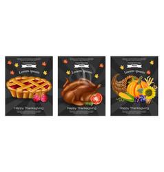 happy thanksgiving turkey pie menu templates vector image