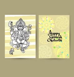 hindu god ganesha cards handwritten words happy vector image
