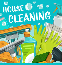 house cleaning service clean home and laundry vector image