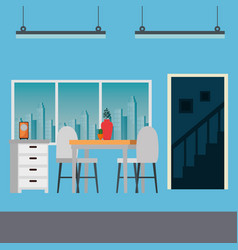 House place dinning room scene vector