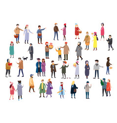 large set of tiny people characters dressed in vector image