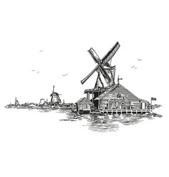 llustration watermill in amsterdam vector image