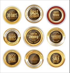 luxury gold and brown badges collection vector image