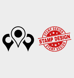 map markers icon and grunge stamp design vector image