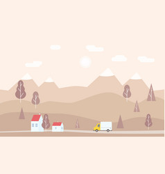 Minimalistic landscape of mountains trees houses vector