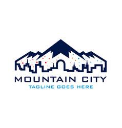 mountain city logo template vector image