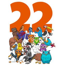 Number twenty two and cartoon birds group vector