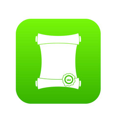 paper scroll with wax seal icon digital green vector image
