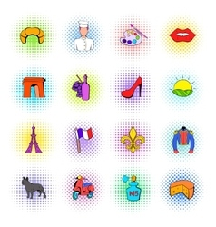 Paris set icons comics style vector
