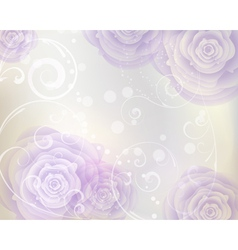 Pastel colored background with purple roses vector image