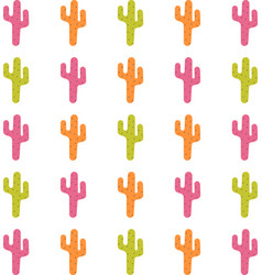 Pattern with cute colorful cactuses vector