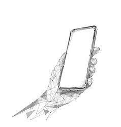 phone in hand low poly bw vector image