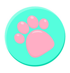 Pink Paw Print Rounded Icon vector image