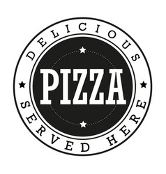 Pizza vintage stamp logo vector