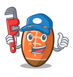 Plumber rugby ball mascot cartoon vector