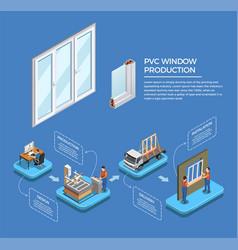 Pvc windows production isometric composition vector