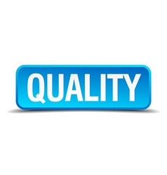 Quality blue 3d realistic square isolated button vector