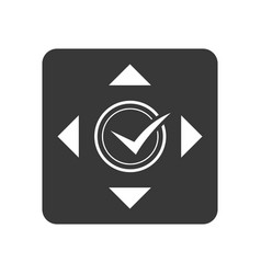 Quality control icon with check mark sign vector